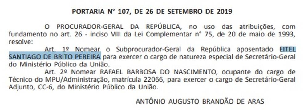 Aras nomeia para Secretaria-Geral do Ministério Público ex-candidato a deputado que apoiou Bolsonaro