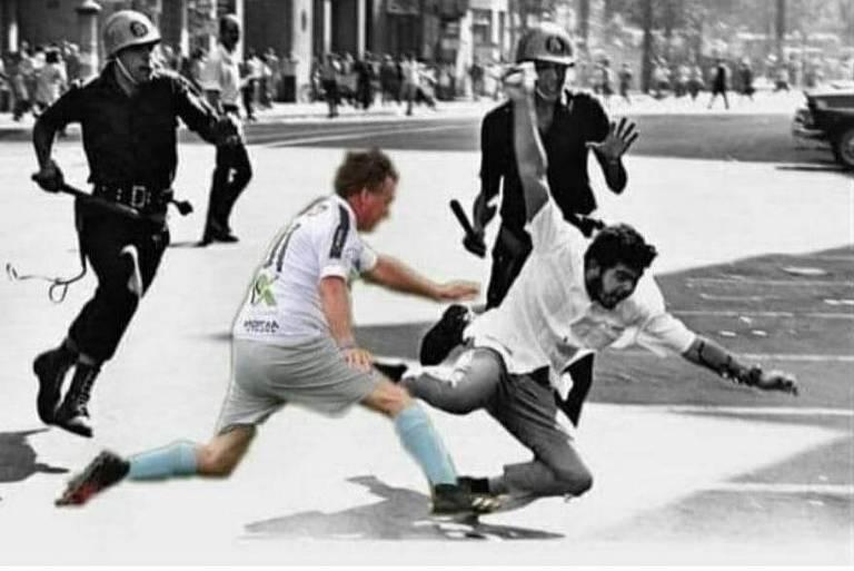 Léo Índio faz montagem com Bolsonaro em foto símbolo da repressão na Ditadura Militar
