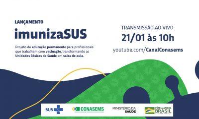 Lançamento do Projeto ImunizaSUS nesta quinta-feira, às 10h no canal do Conasems no YouTube