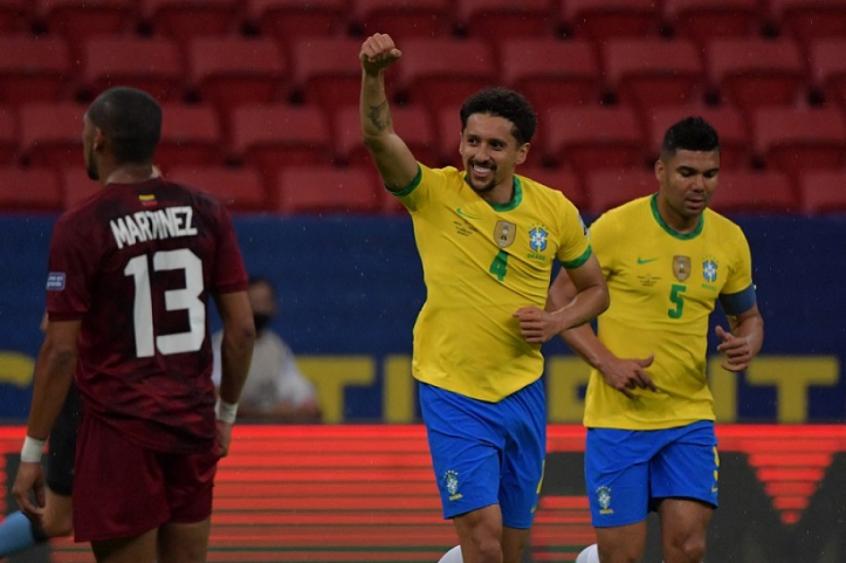 Em fase artilheira, Marquinhos vibra com mais um gol marcado pelo Brasil: 'Feliz em poder ajudar'