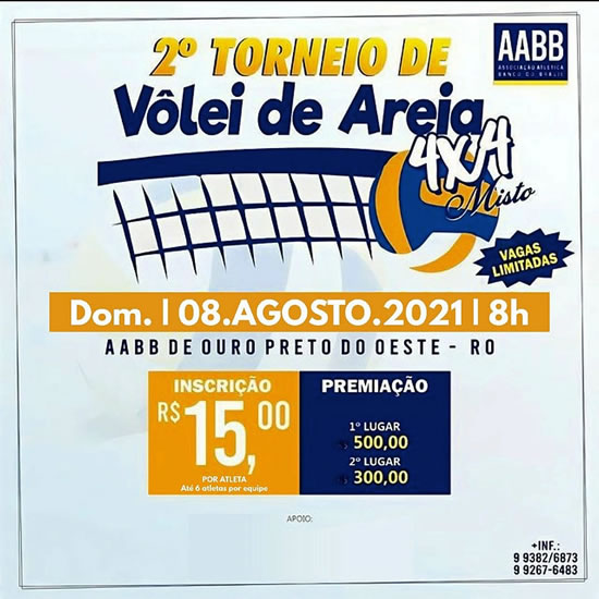 2ª edição do Torneio de Vôlei de Areia 4 × 4 Misto acontece dia 08 de agosto, em Ouro Preto do Oeste