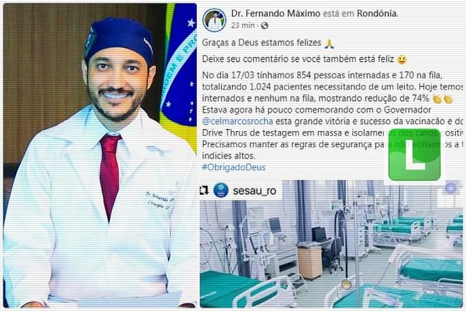 'Graças a Deus estamos felizes', diz Fernando Máximo sobre queda no número de internações por Covid-19