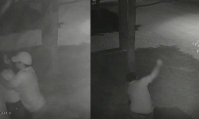 Vídeo: Câmera de segurança flagra homem espancando esposa no meio da rua em Mato Grosso