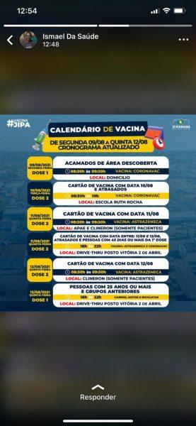 Prefeitura de Ji-Paraná divulga novo cronograma de vacinação